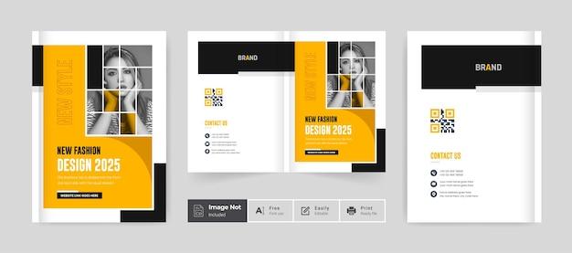 Modèle de couverture de conception de brochure de mode page de couverture de portefeuille créatif jaune couleur noire thème moderne