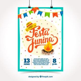 Modèle de couverture créative festa junina