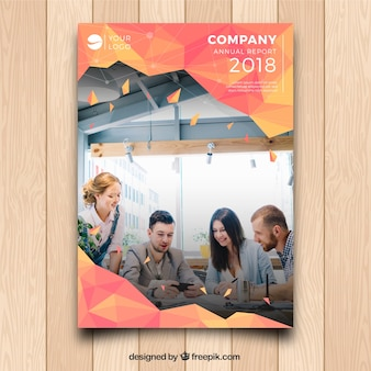 Modèle de couverture d'entreprise a5 avec image