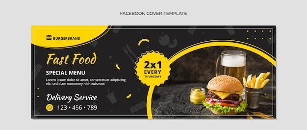 Modèle de couverture facebook alimentaire design plat