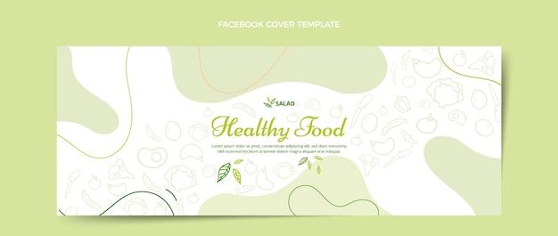 Modèle de couverture facebook alimentaire dessiné à la main