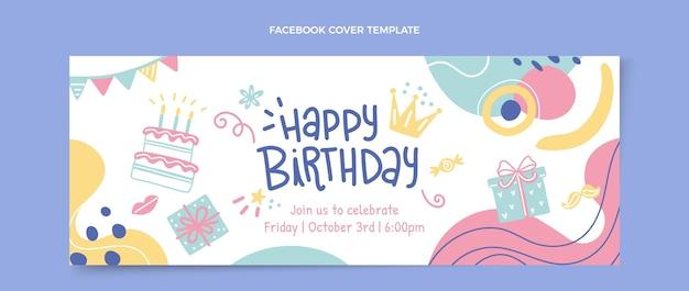 Modèle de couverture facebook anniversaire dessiné à la main