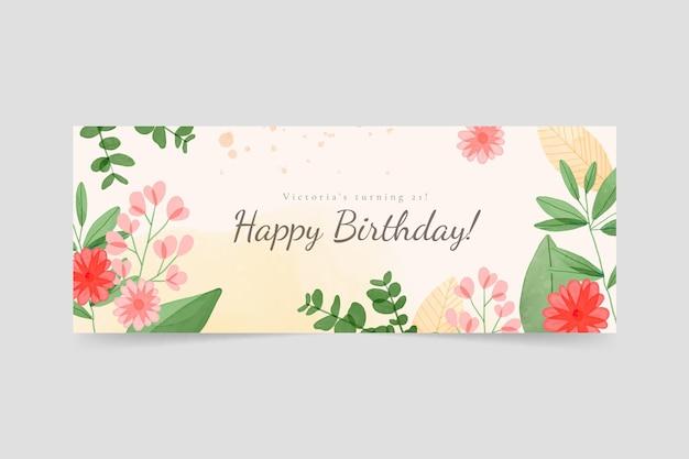 Modèle de couverture facebook anniversaire floral aquarelle