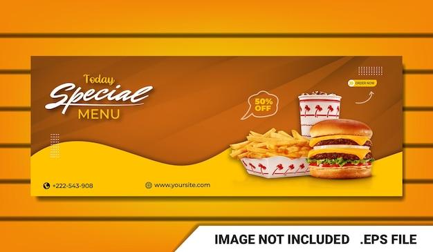 Modèle de couverture facebook bannière burger
