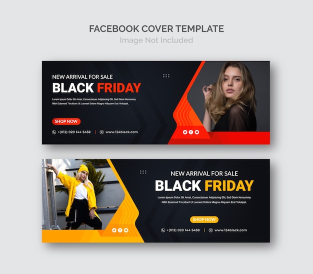 Modèle de couverture facebook de bannière de vente promotionnelle black friday business.