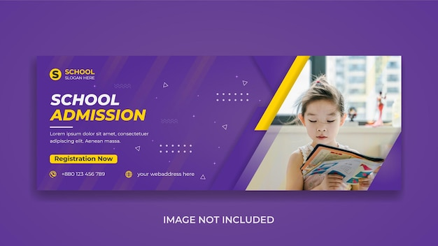 Modèle de couverture facebook et bannière web pour la promotion de l'admission à l'école