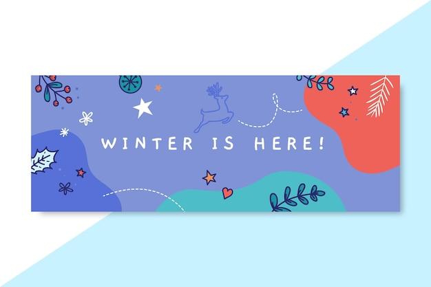 Modèle de couverture facebook de dessin d'hiver coloré doodle