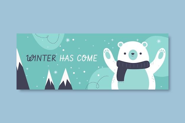 Modèle de couverture facebook hiver dessiné à la main