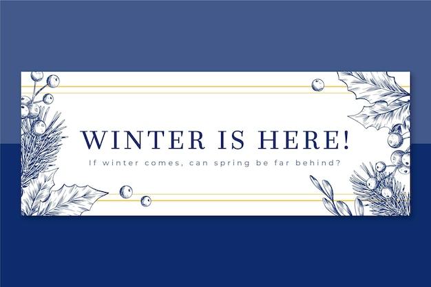 Modèle de couverture facebook hiver illustré