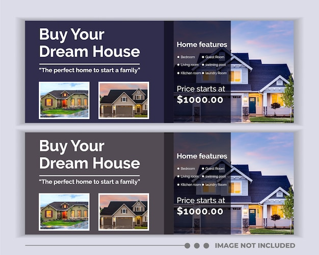 Modèle de couverture facebook de médias sociaux de bannière web immobilier