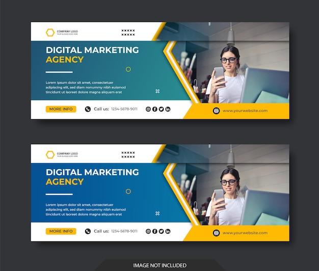 Modèle de couverture facebook de médias sociaux d'entreprise de marketing numérique