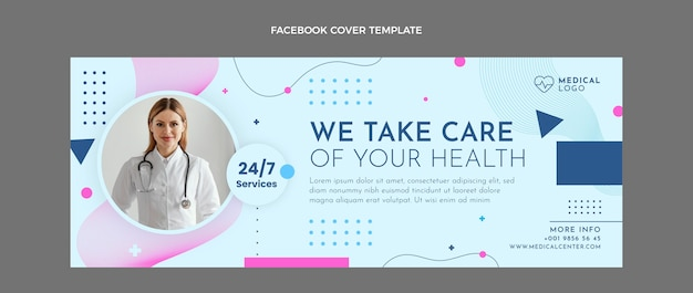 Modèle de couverture facebook médical de style plat