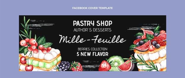 Modèle de couverture facebook de nourriture aquarelle