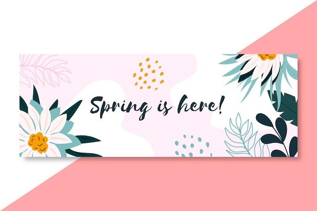 Modèle de couverture facebook printemps dessiné à la main en fleurs