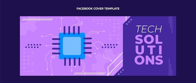Modèle de couverture facebook à technologie minimale plate
