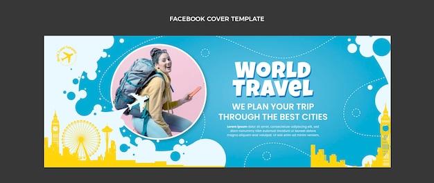 Modèle de couverture facebook de voyage design plat