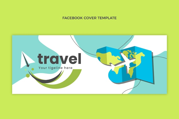 Modèle de couverture facebook de voyage plat