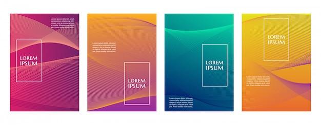 Modèle de couverture de fond de motif de ligne géométrique minimal dégradé coloré