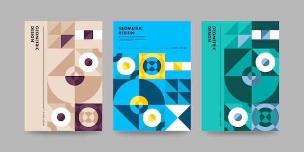 Modèle de couverture géométrique rétro avec design bauhaus