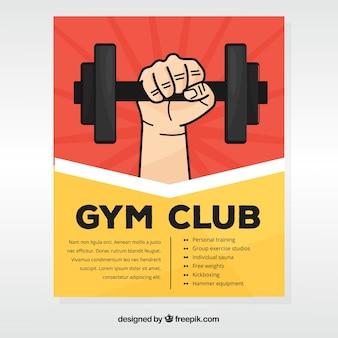 Modèle de couverture de gym avec main tenant des haltères