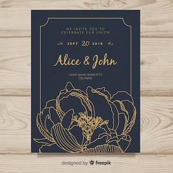 Modèle de couverture d'invitation de mariage avec de belles fleurs de pivoine