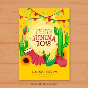 Modèle de couverture jaune pour festa junina