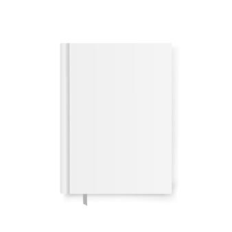 Modèle de couverture de livre blanc avec signet, ombres douces isolés sur fond blanc.