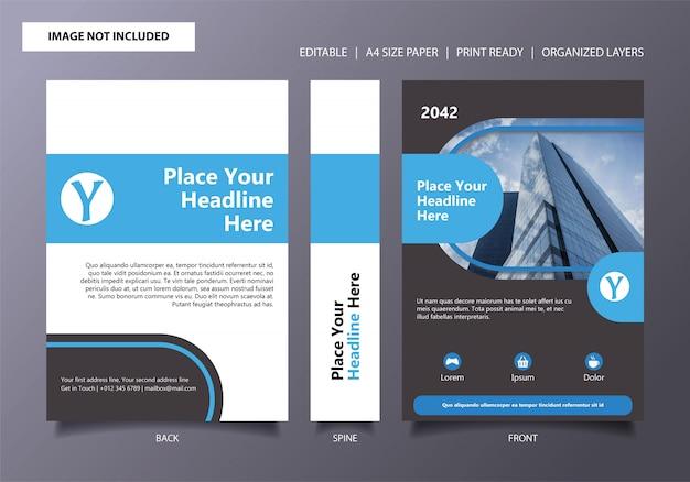 Modèle de couverture de livre bleu arrondi