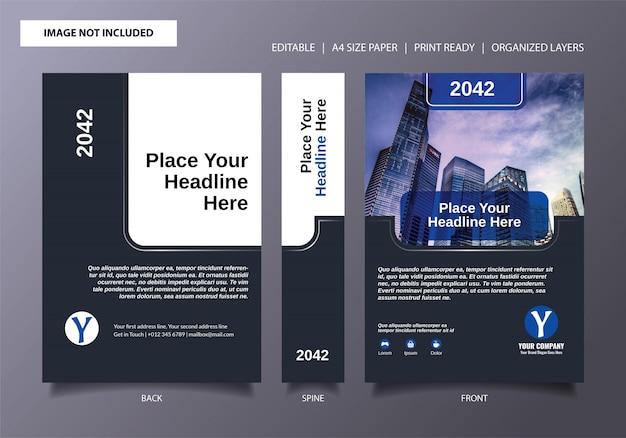 Modèle de couverture de livre bleu foncé simple