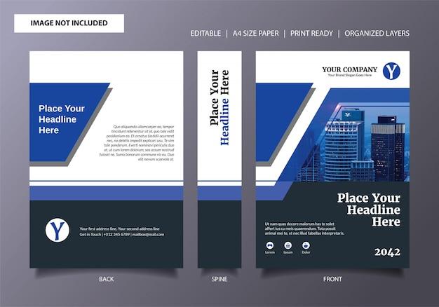 Modèle de couverture de livre bleu à rayures flash