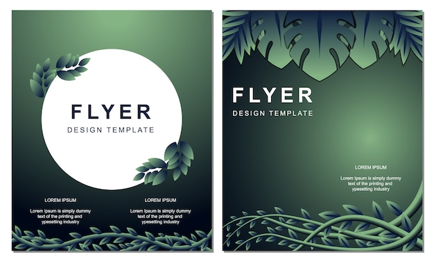 Modèle de couverture de livre de feuilles naturelles flyer