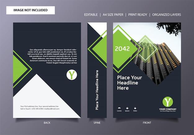 Modèle de couverture de livre frais rectangle simple