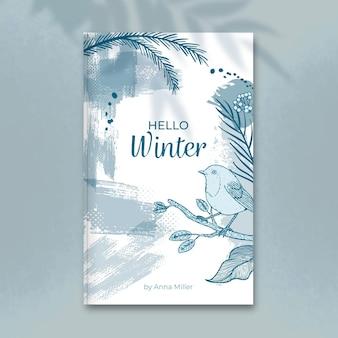 Modèle de couverture de livre d'hiver