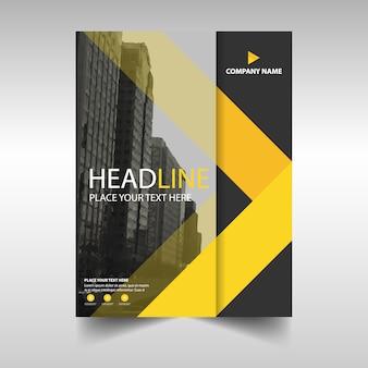 Modèle de couverture de livre de rapport annuel créatif jaune
