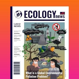 Modèle de couverture de magazine d'écologie