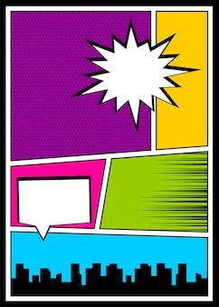 Modèle de couverture de magazine de livre de bandes dessinées pop art texte de super-héros comique de bande dessinée drôle de bande dessinée vintage