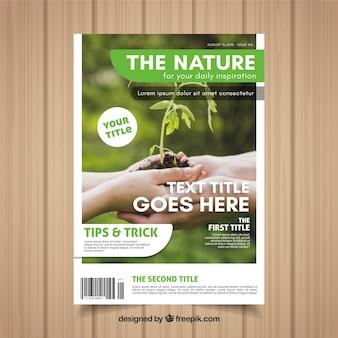 Modèle de couverture de magazine nature moderne avec photo