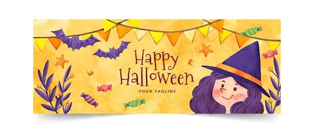 Modèle De Couverture De Médias Sociaux Aquarelle Halloween Vecteur Premium