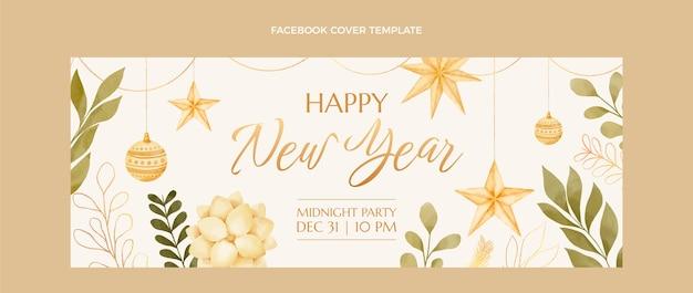 Modèle de couverture de médias sociaux aquarelle nouvel an