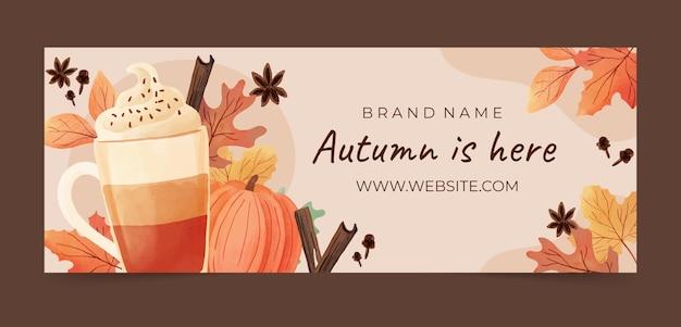 Modèle de couverture de médias sociaux automne aquarelle
