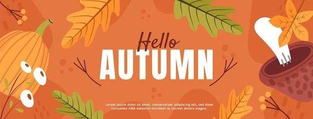 Modèle de couverture de médias sociaux automne plat dessiné à la main