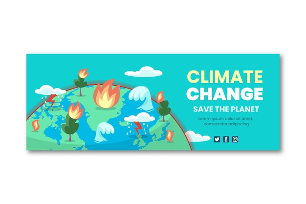 Modèle de couverture de médias sociaux sur le changement climatique à plat