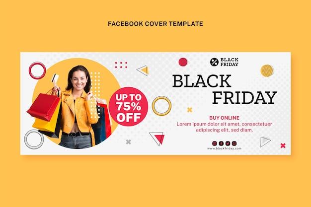 Modèle de couverture de médias sociaux du vendredi noir plat