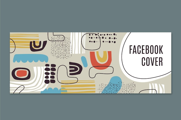 Modèle de couverture de médias sociaux de formes abstraites plates dessinées à la main