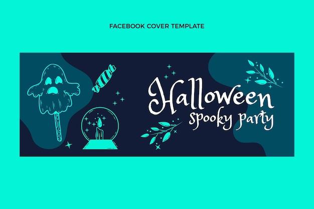 Modèle de couverture de médias sociaux halloween plat dessiné à la main