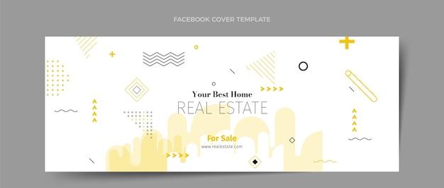 Modèle de couverture de médias sociaux immobilier géométrique abstrait plat