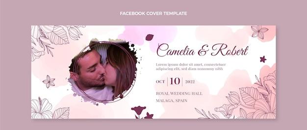 Modèle de couverture de médias sociaux de mariage aquarelle dessinés à la main