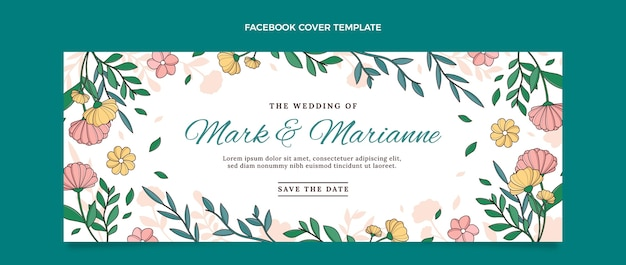 Modèle de couverture de médias sociaux de mariage dessiné à la main