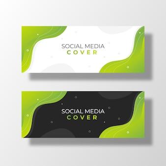 Modèle de couverture de médias sociaux modernes verts