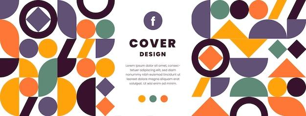 Modèle de couverture de médias sociaux en mosaïque plate